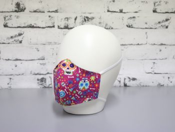 mascarilla lavable color rosa halloween