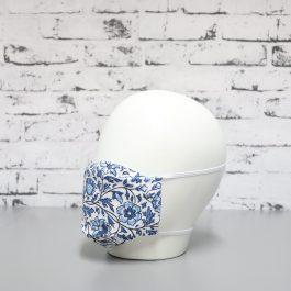 Mascarilla Blanca Estampado Azul